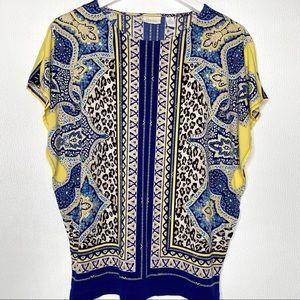 CHICO'S Blue Yellow Geometric Print Top Size 4